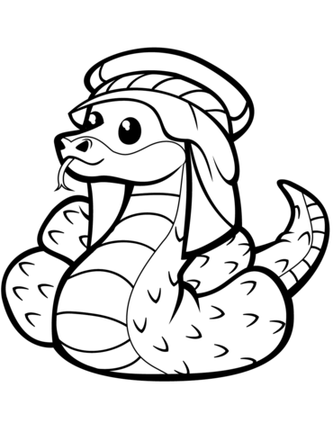 Cute Snake in Kufia  coloring pages