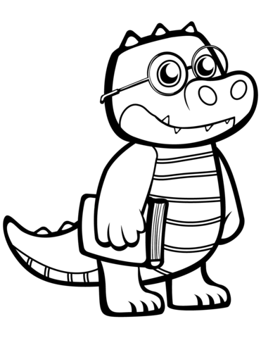 Crocodile with Glasses coloring pages