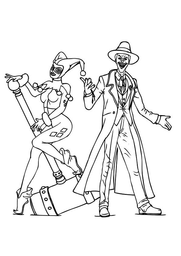 Jokar & Harley Quinn coloring pages