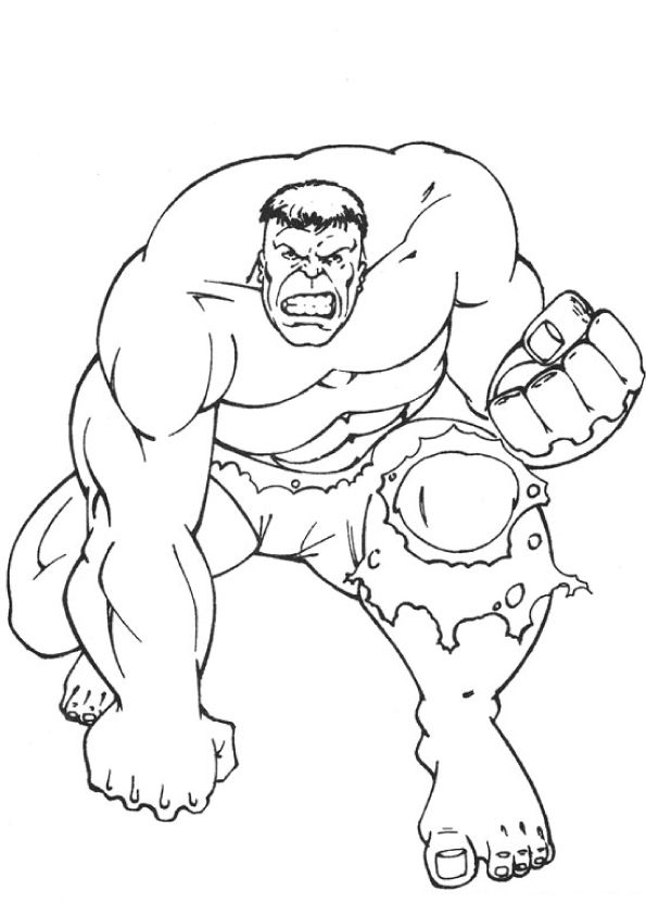 Free & Printable Punch of Hulk Coloring Picture, Assignment ...