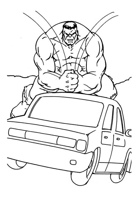 Hulk Crushing Car coloring pages