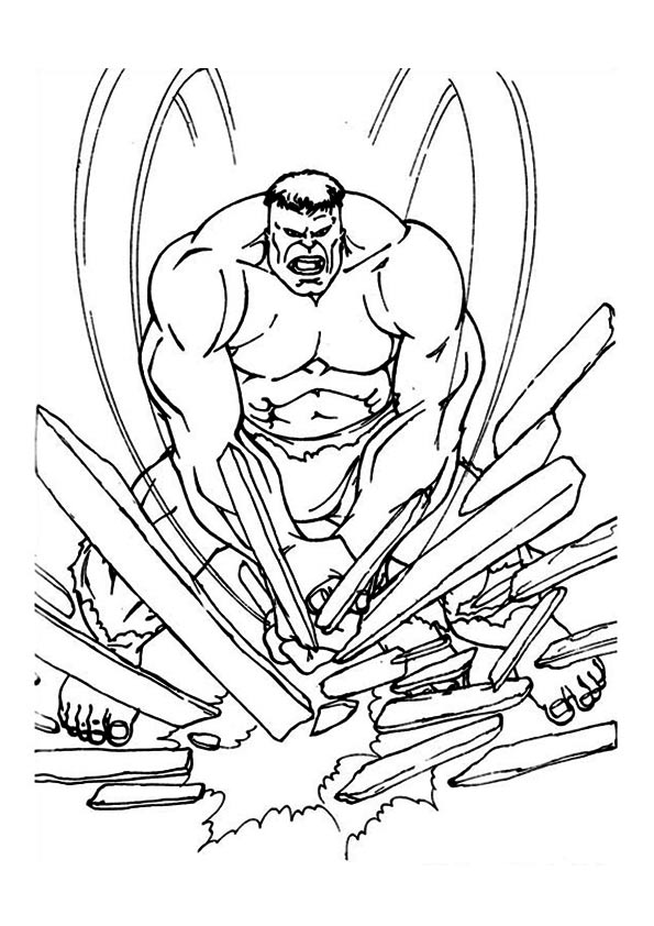 Hulk in Breaking Mood coloring pages