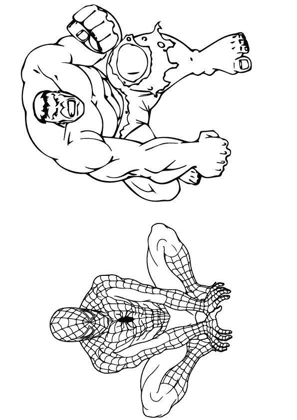 Hulk & Spiderman coloring pages