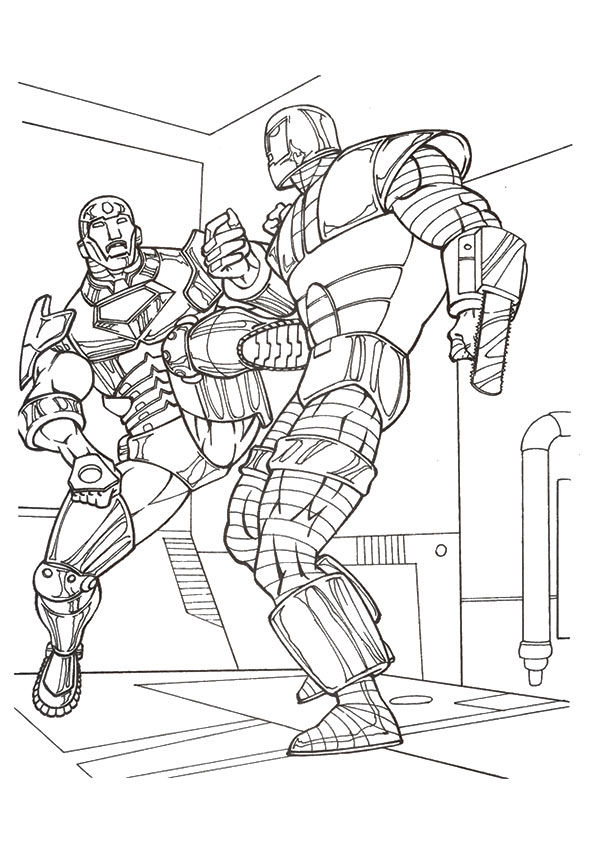 Iron Man in Combat coloring pages