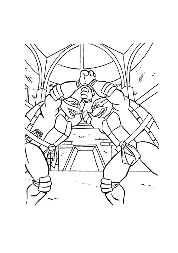 Brothers Fighting coloring pages