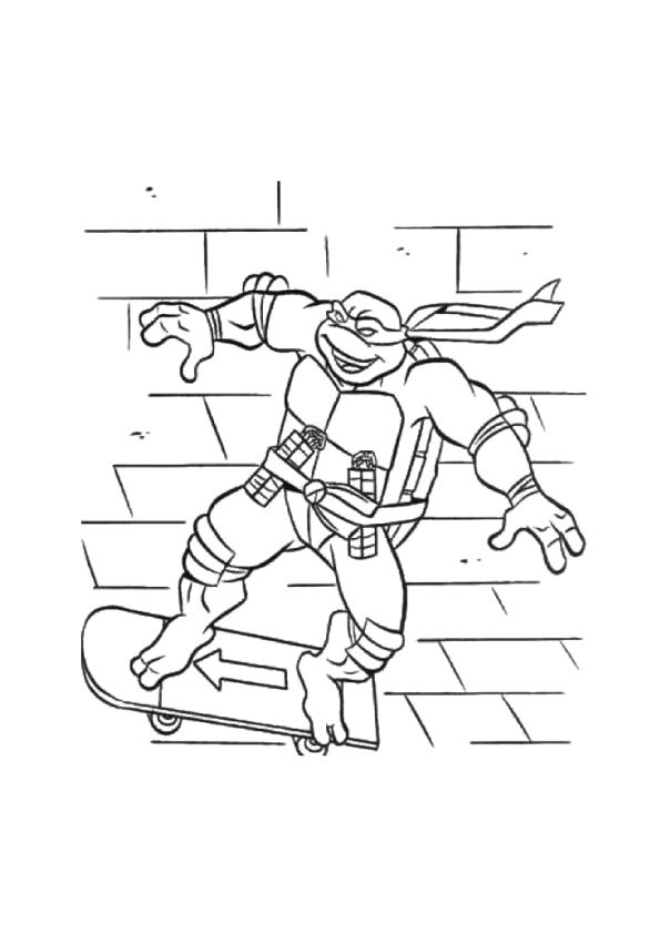 Ninja Fighting Skateboard coloring pages