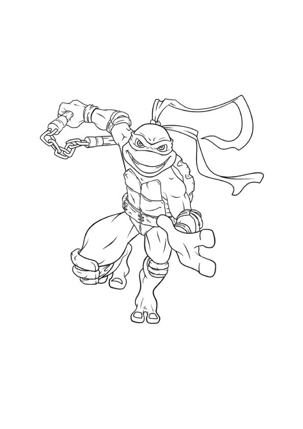 Flying Michelangelo coloring pages