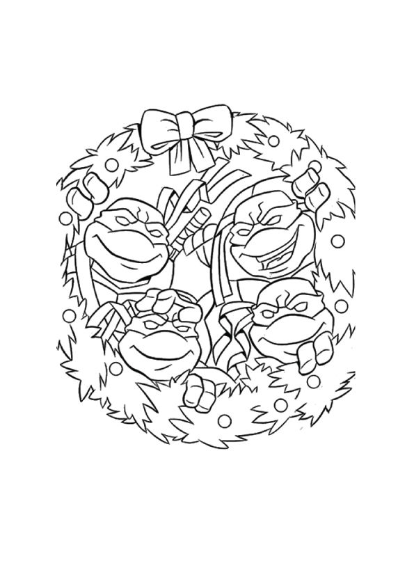 Ninja Turtles in Christmas coloring pages