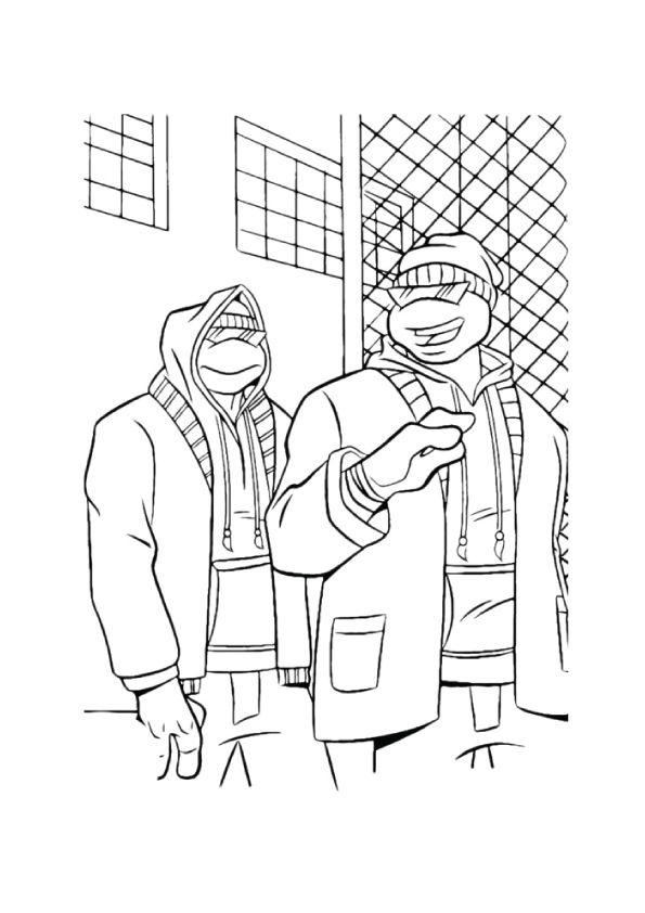 Ninja Turtles in Casual coloring pages