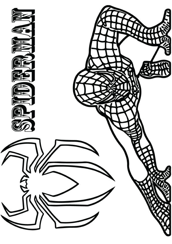 Crouching Spiderman coloring pages