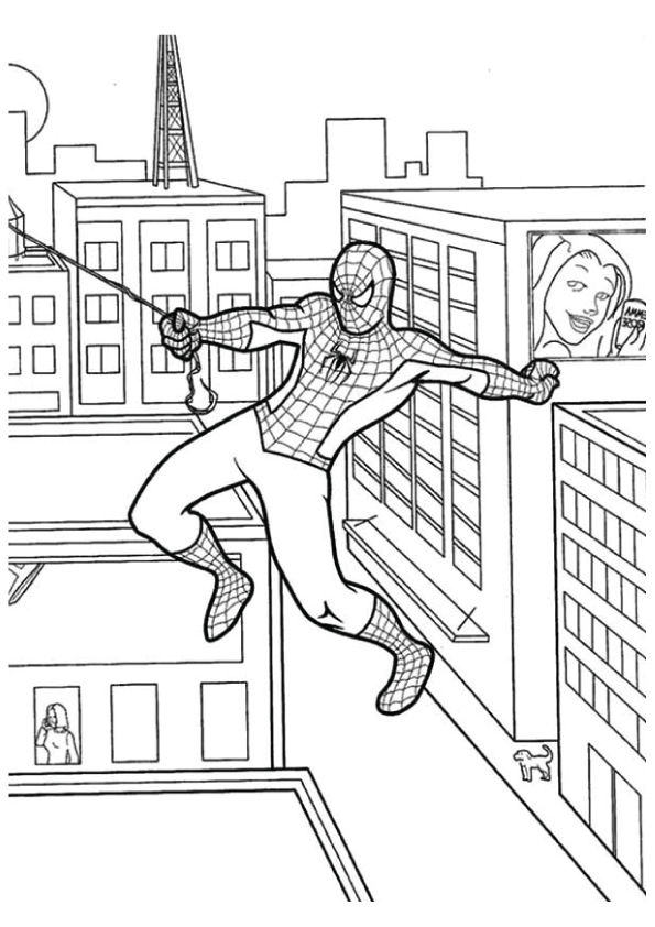 Spiderman Swinging coloring pages