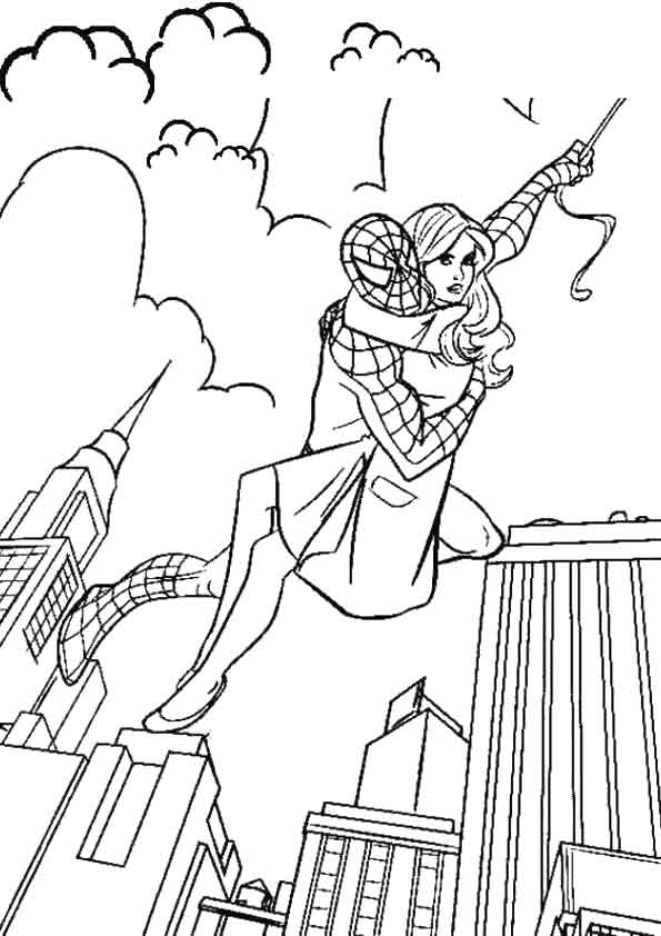 Spiderman Comes coloring pages