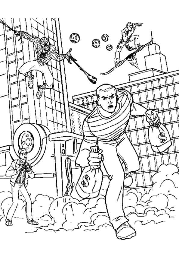 Spiderman Fighting coloring pages