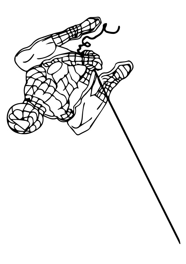 Swinging Spiderman coloring pages
