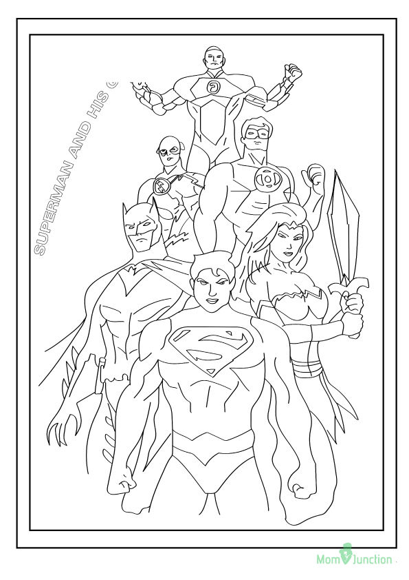 Superman with Gang coloring pages