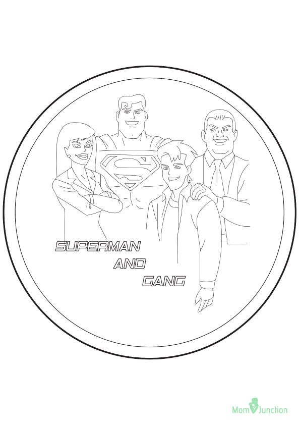 Superman with Gang 2 coloring pages