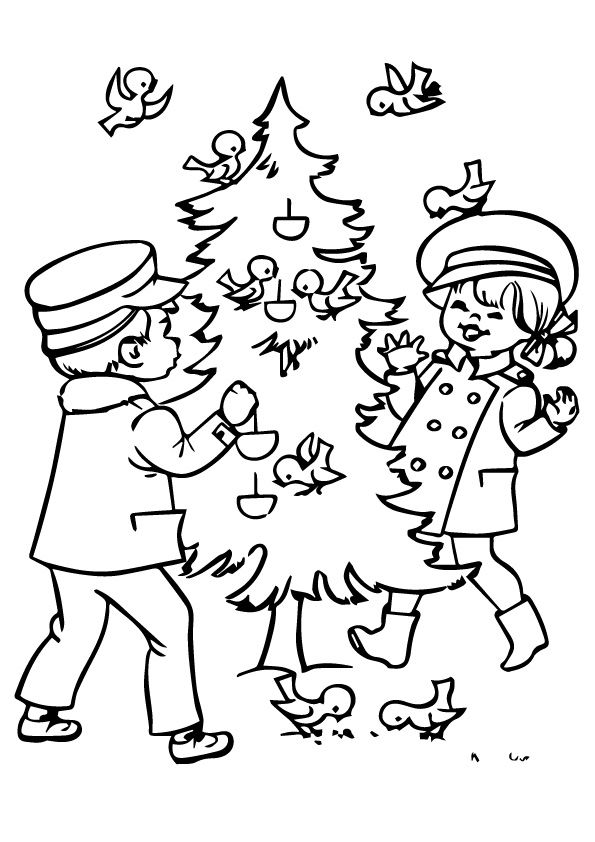 Christmas Tree Bird coloring pages