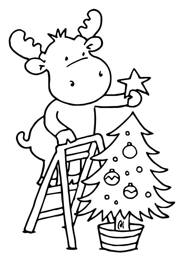 Christmas Deer Decoration coloring pages