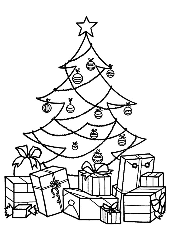 Christmas Gift Filled Tree coloring pages